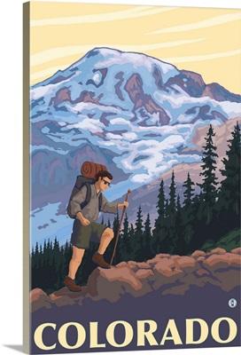 Colorado Mountain Hiker: Retro Travel Poster