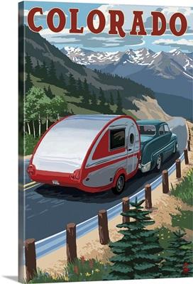 Colorado - Retro Camper: Retro Travel Poster