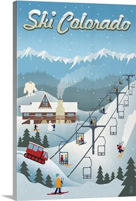 Colorado - Retro Ski Resort: Retro Travel Poster