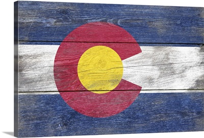 Colorado State Flag on Wood
