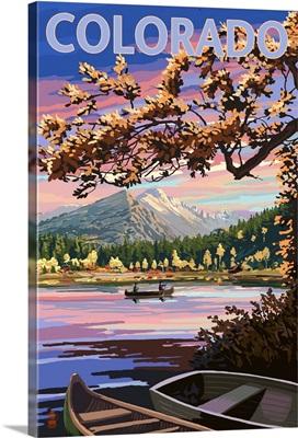 Colorado - Twilight Lake Scene: Retro Travel Poster