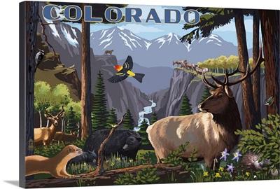 Colorado - Wildlife Utopia: Retro Travel Poster