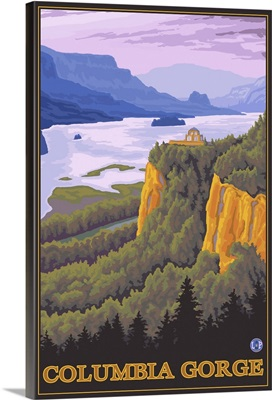 Columbia Gorge, Oregon and Washington: Retro Travel Poster