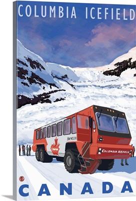 Columbia Icefield, Canada: Retro Travel Poster