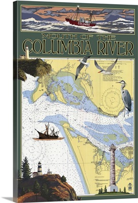 Columbia River Chart and Views: Retro Travel Poster