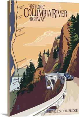 Columbia River Gorge, Oregon - Historic Columbia River Highway: Retro Travel Poster
