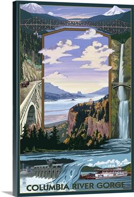 Columbia River Gorge Views: Retro Travel Poster