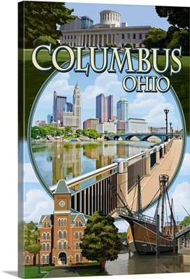 Columbus, Ohio - Montage Scenes: Retro Travel Poster