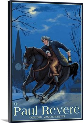 Concord, Massachusetts - Paul Revere at NIght: Retro Travel Poster