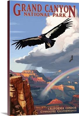 Condor and Rainbow - Grand Canyon National Park: Retro Travel Poster