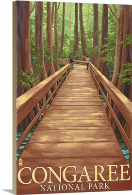 Congaree National Park - Walkway: Retro Travel Poster