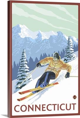 Connecticut - Downhill Skier Scene: Retro Travel Poster