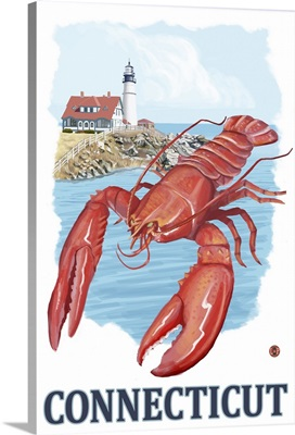 Connecticut - Lobster and Lighthouse: Retro Travel Poster
