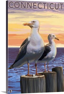 Connecticut - Sea Gulls Scene: Retro Travel Poster