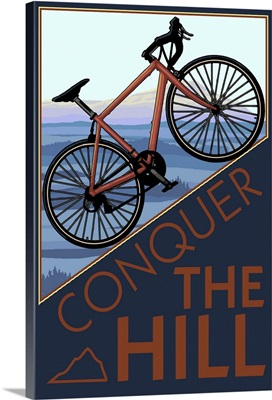 Conquer the Hill - Mountain Bike: Retro Travel Poster