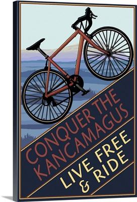 Conquer the Kancamagus, New Hampshire - Mountain Bike: Retro Travel Poster