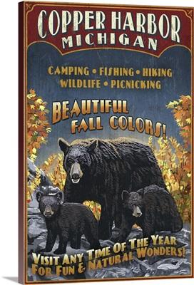 Copper Harbor, Michigan - Black Bears Vintage Sign: Retro Travel Poster