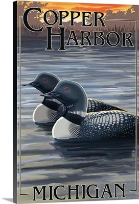 Copper Harbor, Michigan - Loon Family: Retro Travel Poster