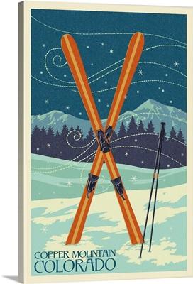 Copper Mountain, Colorado - Crossed Skis - Letterpress: Retro Travel Poster