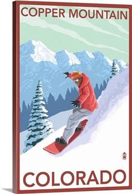 Copper Mountain, Colorado - Downhill Snowboarder: Retro Travel Poster