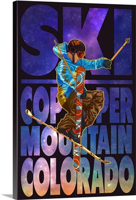 Copper Mountain, Colorado - Milky Way Skier: Retro Travel Poster