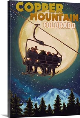 Copper Mountain, Colorado - Ski Lift and Full Moon: Retro Travel Poster