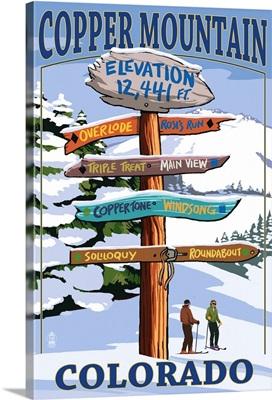 Copper Mountain, Colorado - Ski Signpost: Retro Travel Poster