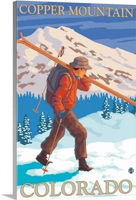 Copper Mountain, Colorado, Skier Carrying
