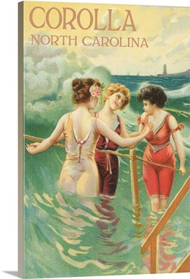 Corolla, North Carolina - Beach Scene with Three Ladies in Water: Retro Travel Poster