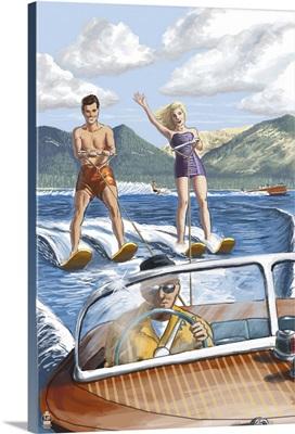 Couple Water Skiing: Retro Poster Art