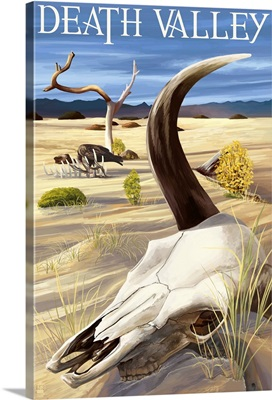 Cow Skull - Death Valley National Park: Retro Travel Poster