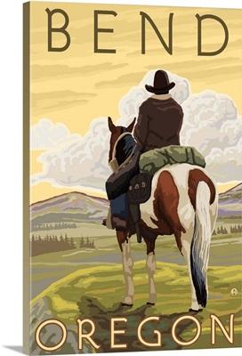 Cowboy and Horse - Bend, Oregon: Retro Travel Poster