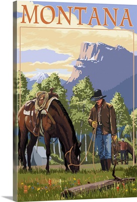 Cowboy and Horse in Spring - Montana: Retro Travel Poster