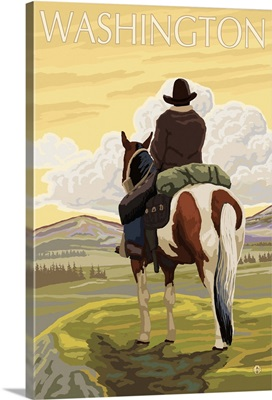 Cowboy and Horse - Washington: Retro Travel Poster