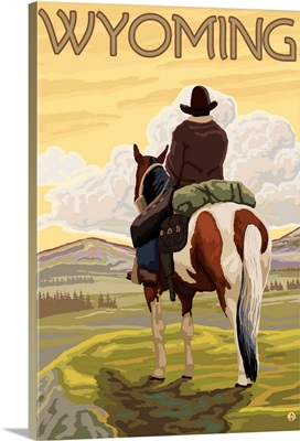 Cowboy and Horse - Wyoming: Retro Travel Poster