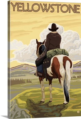 Cowboy and Horse - Yellowstone National Park: Retro Travel Poster
