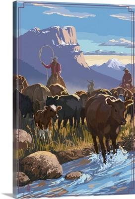 Cowboy Cattle Drive Scene: Retro Poster Art