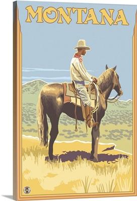 Cowboy on Horseback - Montana: Retro Travel Poster