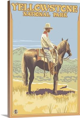 Cowboy on Horseback - Yellowstone National Park: Retro Travel Poster