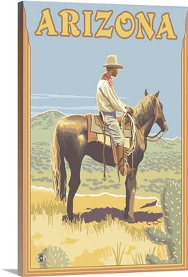 Cowboy (Side View) - Arizona: Retro Travel Poster