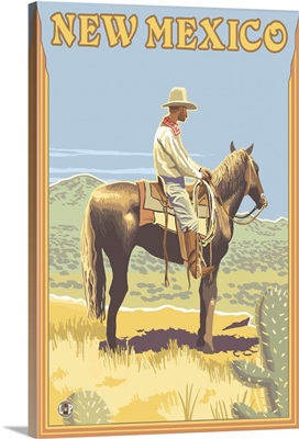 Cowboy (Side View) - New Mexico: Retro Travel Poster