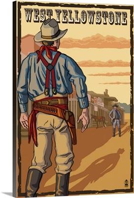 Cowboy Standoff - West Yellowstone, MT: Retro Travel Poster