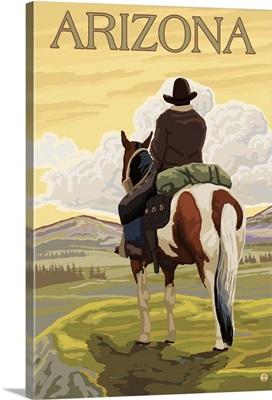 Cowboy (View from Back) - Arizona: Retro Travel Poster