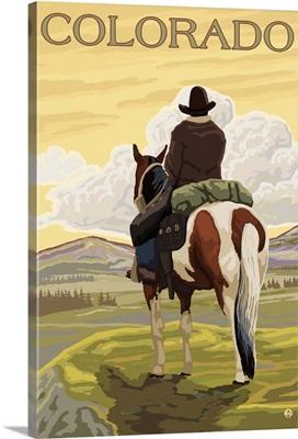 Cowboy (View from Back) - Colorado: Retro Travel Poster