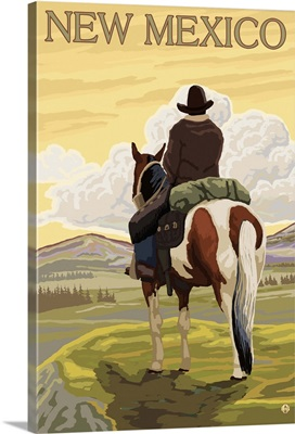 Cowboy (View from Back) - New Mexico: Retro Travel Poster