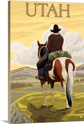 Cowboy (View from Back) - Utah: Retro Travel Poster