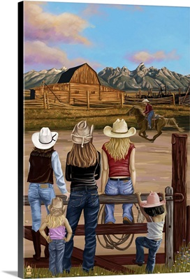 Cowgirls Scene: Retro Poster Art