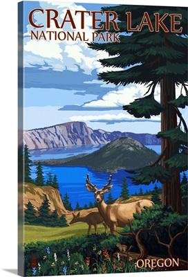 Crater Lake National Park, Oregon - Deer Family: Retro Travel Poster