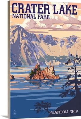 Crater Lake National Park, Oregon - Shoreline and Sunset: Retro Travel Poster