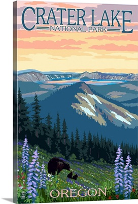 Crater Lake National Park, Oregon - Spring Flowers and Bear Family: Retro Travel Poster